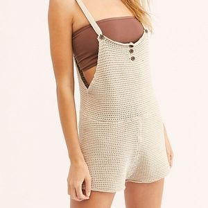 Free People Beach Beige Weave Romper